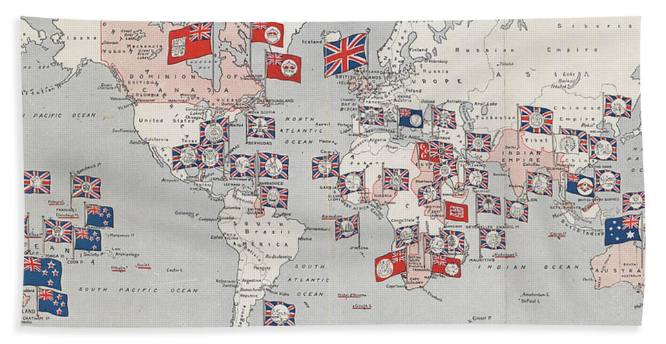 Vintage british empire world map 1910 beach towel for sale by british empire beach towel featuring the drawing vintage british empire world map 1910 by cartographyassociates gumiabroncs