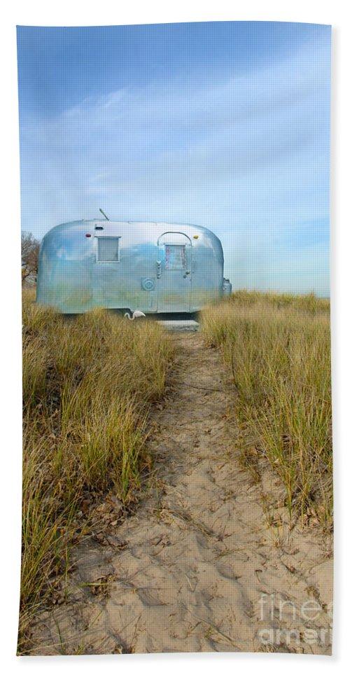 Trailer Beach Towel featuring the photograph Vintage Camping Trailer Near The Sea by Jill Battaglia
