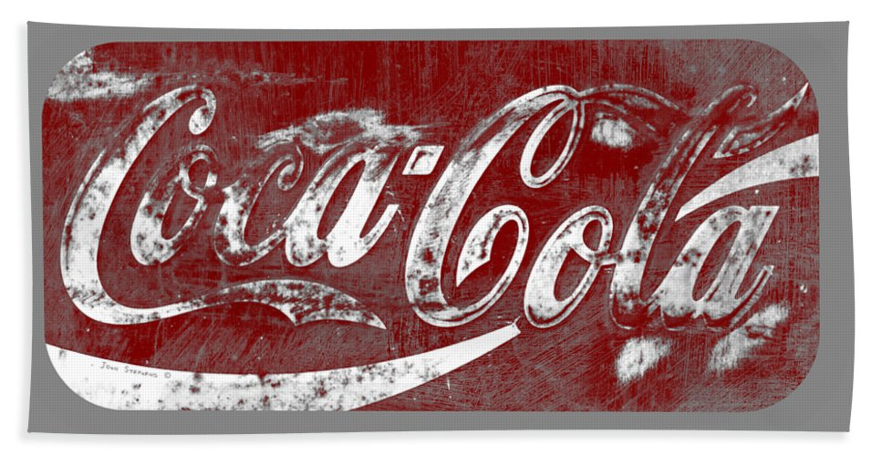 Coca Cola Beach Towel featuring the photograph Coca Cola Red And White Sign Gray Border With Transparent Background by John Stephens