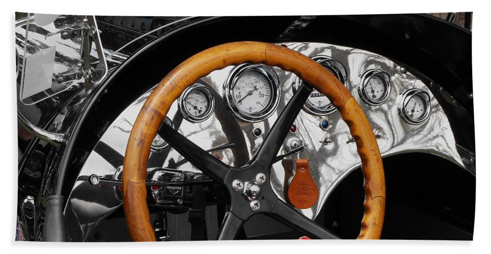 Ford Race Car Beach Towel featuring the photograph Vintage Ford Racer Dashboard by Neil Zimmerman