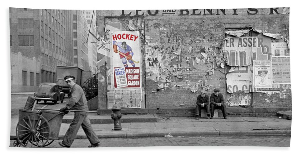 Hockey Beach Towel featuring the photograph Vintage Hockey Poster by Andrew Fare