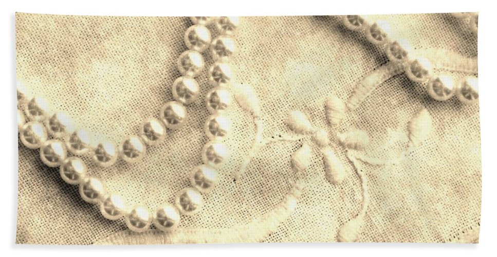 Vintage Lace And Pearls Beach Towel featuring the photograph Vintage Lace And Pearls by Barbara Griffin