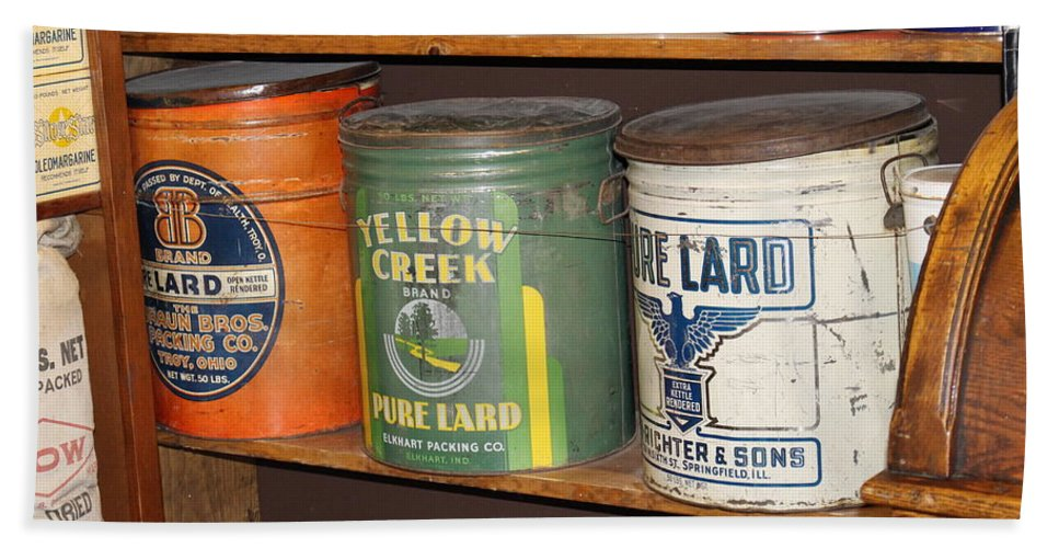 Ruddy's General Store Beach Towel featuring the photograph Vintage Lard Can by Colleen Cornelius