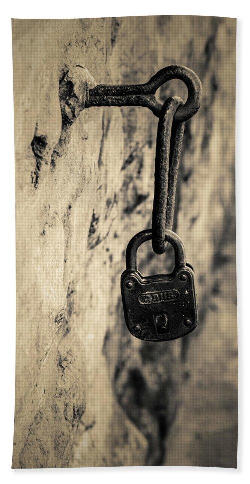 Peak Destrik 2 Vintage Lock Olld Beach Towel featuring the digital art Vintage Lock by Adam Nicolaou