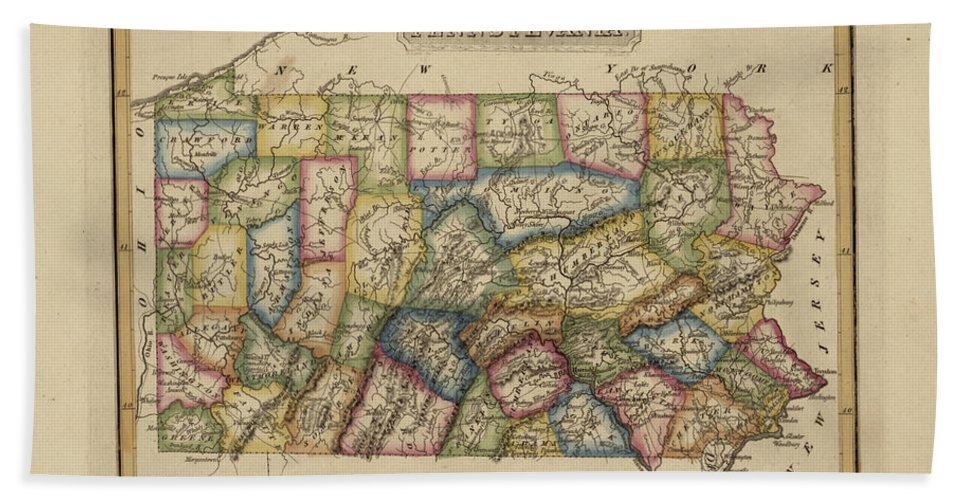 19th Century Beach Sheet featuring the painting Antique Map Of Pennsylvania by Fielding Lucas