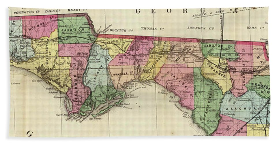 Map Of Florida Panhandle Beaches.Vintage Map Of The Florida Panhandle 1870 Beach Towel For Sale By
