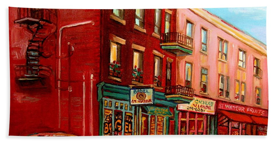 St Viateur Bagel Shop Montreal Street Scenes Beach Sheet featuring the painting Vintage Montreal by Carole Spandau