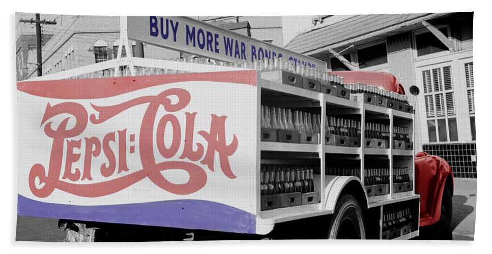 Pepsi Beach Towel featuring the photograph Vintage Pepsi Truck by Andrew Fare