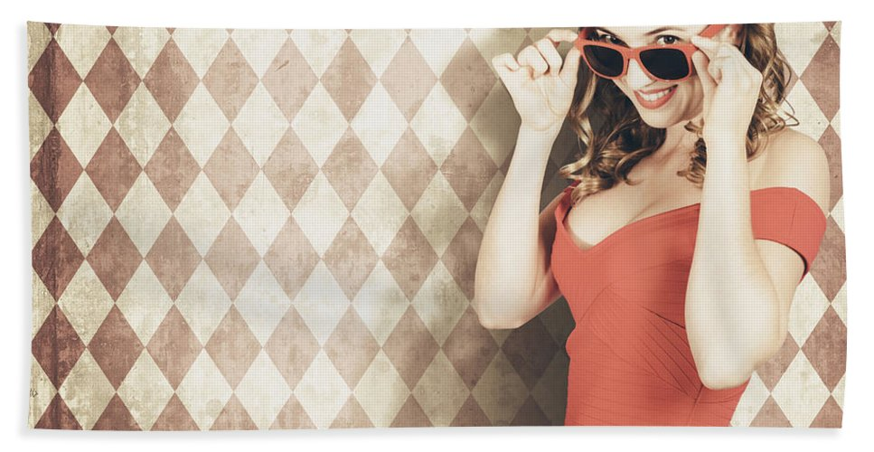 Pinup Beach Towel featuring the photograph Vintage Pinup Fashion Model In Womens Sunglasses by Jorgo Photography - Wall Art Gallery