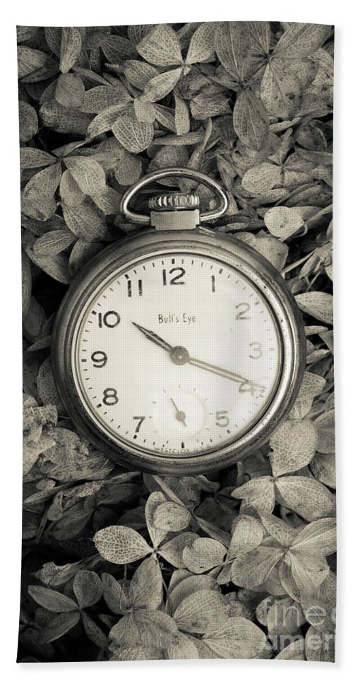 Still Life Beach Towel featuring the photograph Vintage Pocket Watch Over Flowers by Edward Fielding