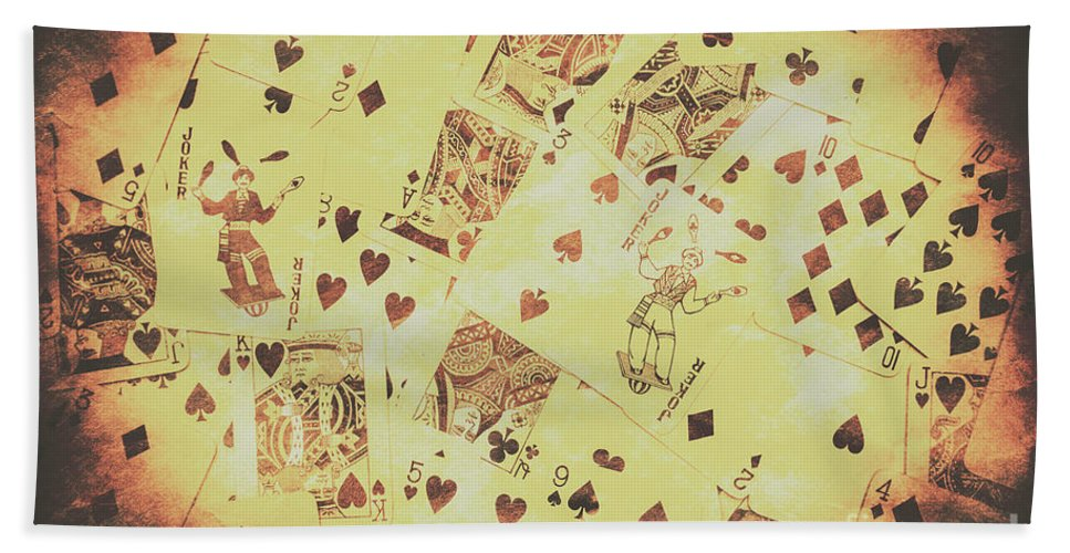 Poker Beach Towel featuring the photograph Vintage Poker Card Background by Jorgo Photography - Wall Art Gallery