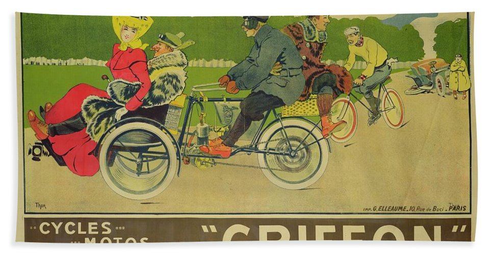 Bikes Beach Towel featuring the painting Vintage Poster Bicycle Advertisement by Walter Thor