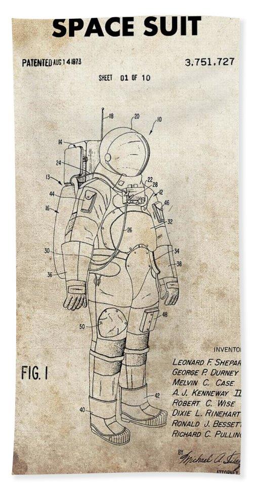 Vintage Space Suit Patent Beach Towel featuring the drawing Vintage Space Suit Patent by Dan Sproul