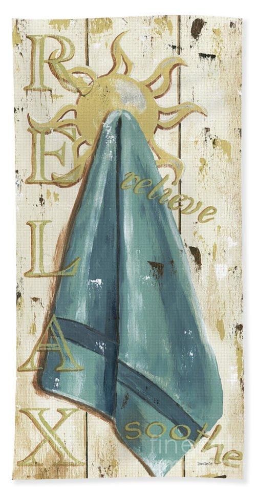 Coastal Beach Towel featuring the painting Vintage Sun Beach 2 by Debbie DeWitt