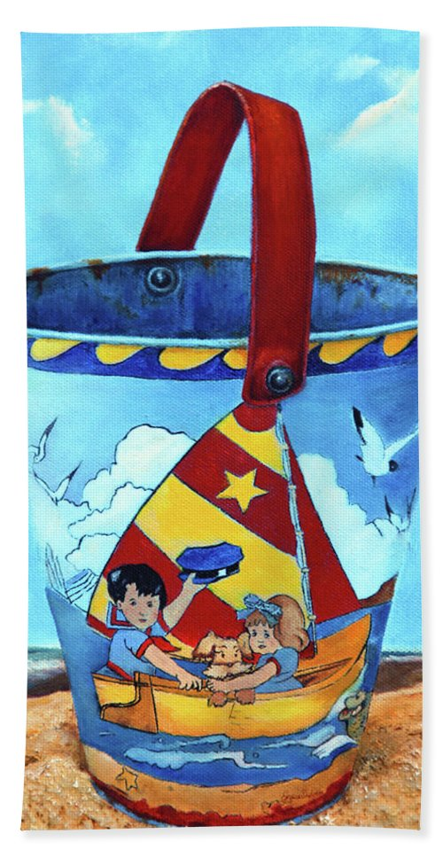 Vintage Beach Towel featuring the painting Vintage Tin Sand Bucket by Portraits By NC