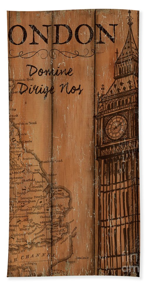 London Beach Towel featuring the painting Vintage Travel London by Debbie DeWitt