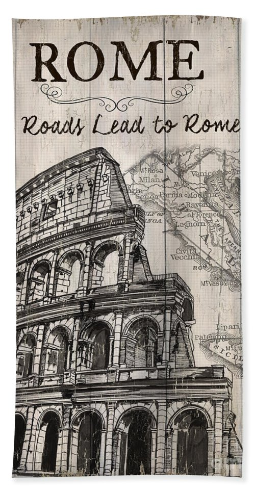 Rome Beach Towel featuring the painting Vintage Travel Poster by Debbie DeWitt