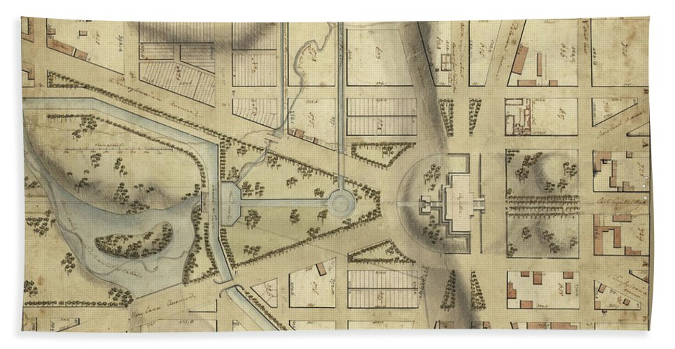 Vintage Washington Dc Capitol Hill Map 1815 Beach Towel for Sale