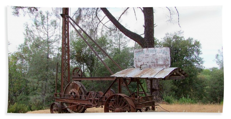 Well Driller Beach Towel featuring the photograph Vintage Well Driller 1 by Mary Deal