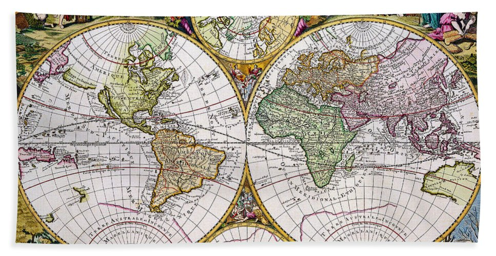 Vintage world map in latin mappe monde beach towel for sale by r vintage beach towel featuring the painting vintage world map in latin mappe monde by r muirhead gumiabroncs Images