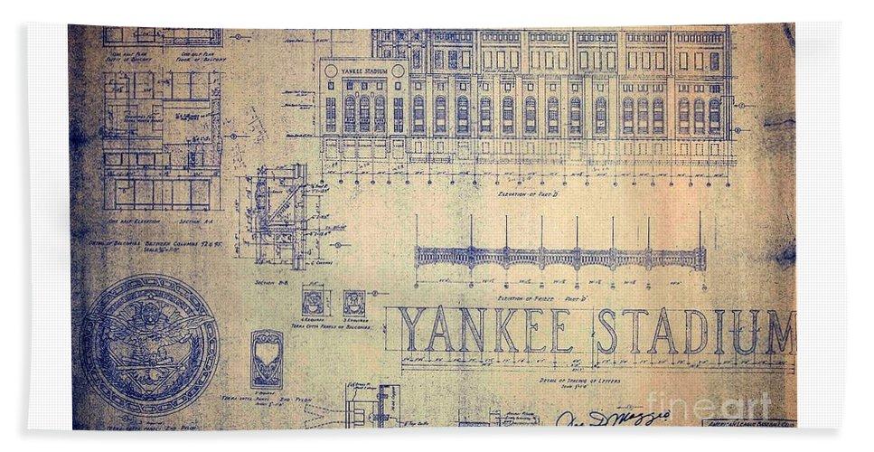 Joe Dimaggio Beach Towel featuring the drawing Vintage Yankee Stadium Blueprint by Peter Ogden Gallery