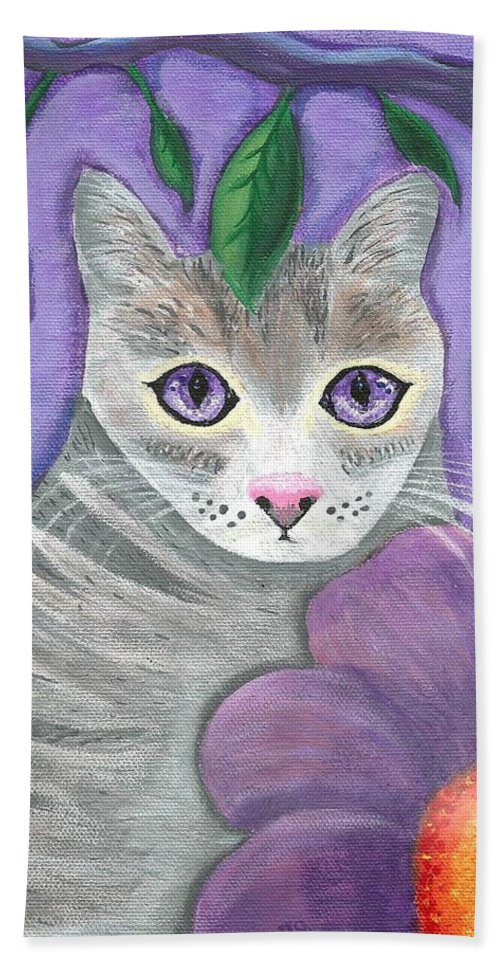 Violet Purple Lavender Eyes Kitty Cat Flower Floral Tabby Grey Beach Towel featuring the painting Violet Eyed Cat by Monica Resinger