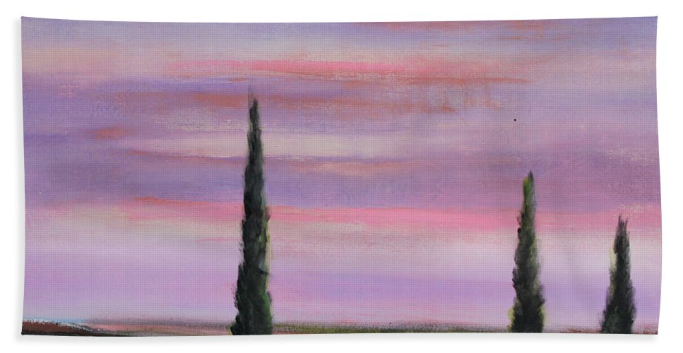 Purple Beach Towel featuring the painting Violet Sky by Toni Grote