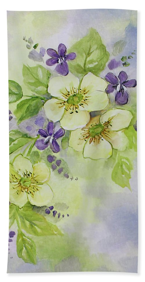 Violets Beach Towel featuring the painting Violets And Wild Roses by Becky West