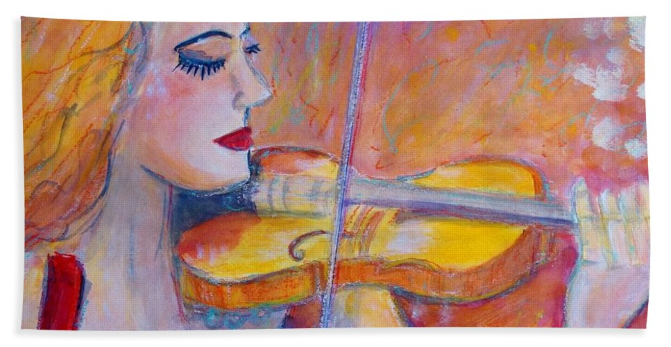 Painting Beach Towel featuring the painting Violin Player by Ingrid Becker