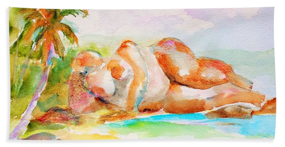 Tropical Beach Beach Towel featuring the painting Virgin Cove by Carlin Blahnik CarlinArtWatercolor