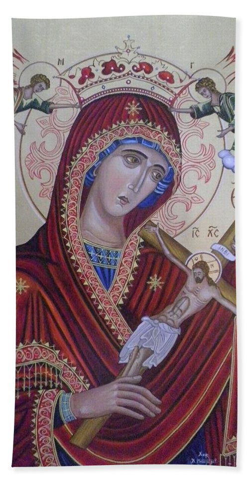 Jesus Christ Beach Towel featuring the painting Virgin Mary Of Death by Konstantinos Baklatzis