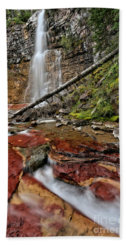 St Mary Falls Beach Towel featuring the photograph Virginia Falls Closeup by Adam Jewell
