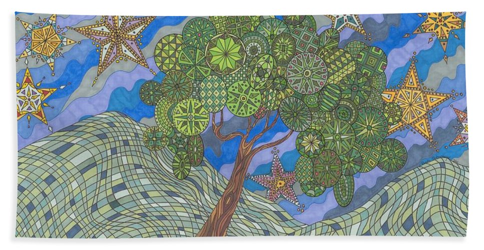Landscape Beach Towel featuring the drawing Virginia Quilts by Pamela Schiermeyer