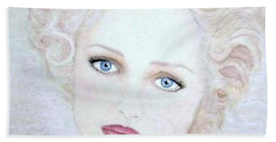 Face Beach Towel featuring the drawing Virginia by Scarlett Royal