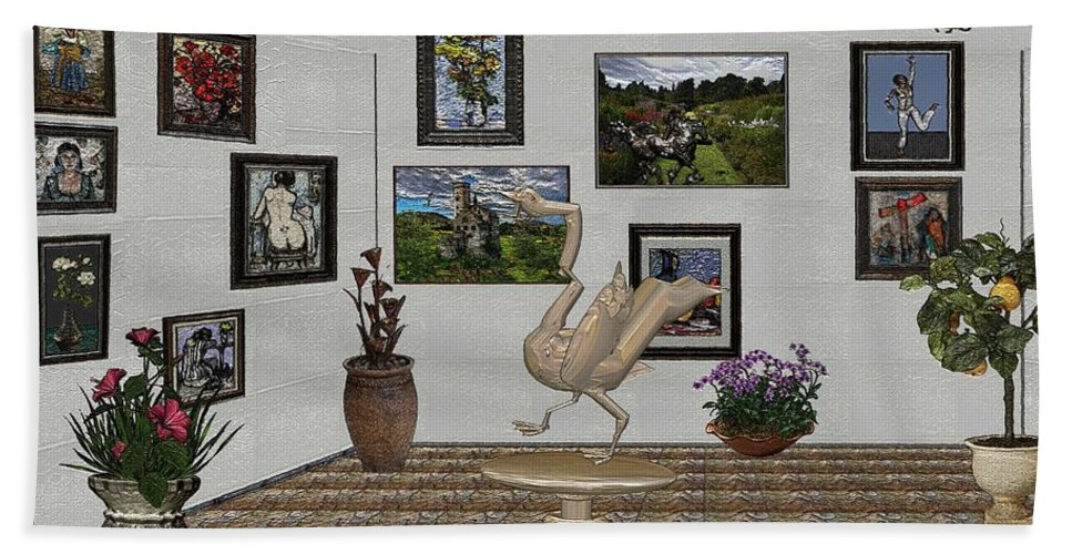 People Beach Towel featuring the mixed media virtual exhibition_Statue of swan 23 by Pemaro