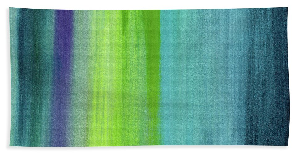 Abstract Beach Towel featuring the painting Vishnu- Art By Linda Woods by Linda Woods