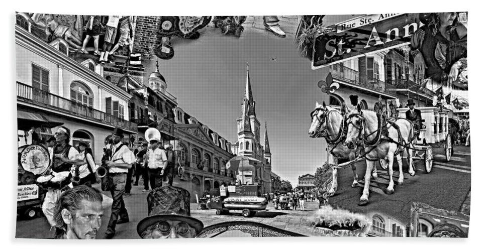 New Orleans Beach Towel featuring the photograph Vive Les French Quarter Monochrome by Steve Harrington