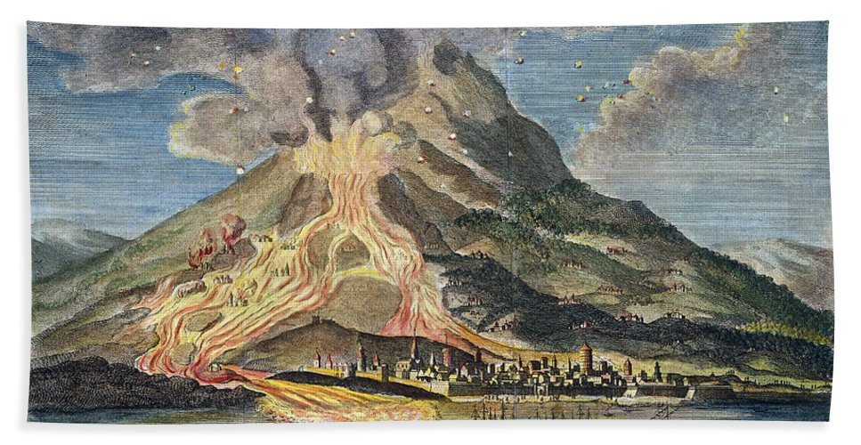 1783 Beach Towel featuring the photograph Volcano: Mt. Etna by Granger