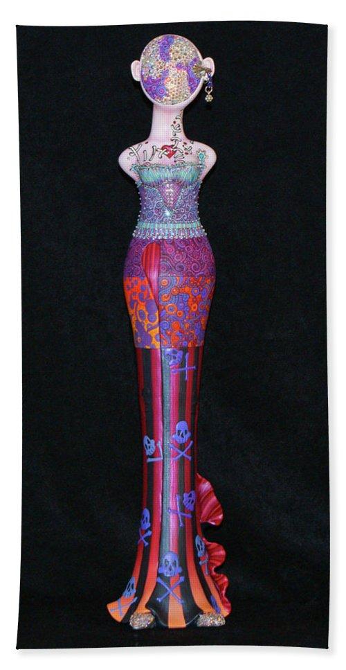 Voodoo Diva Art Doll Beach Towel featuring the mixed media Voodoo Diva by Judy Henninger