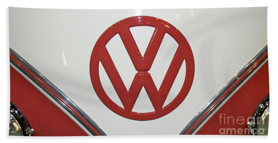 Vw Beach Towel featuring the photograph Vw Emblem In Red by Pamela Walrath
