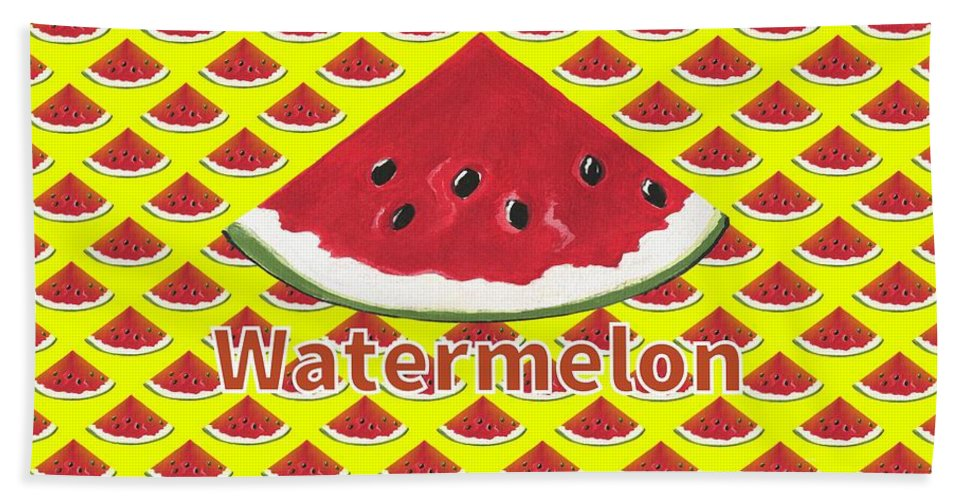 Watermelon Art Beach Towel featuring the mixed media W Is For Watermelon by Kathleen Sartoris