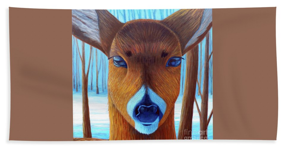 Deer Beach Towel featuring the painting Wait For The Magic by Brian Commerford