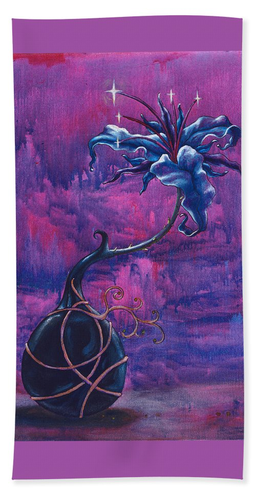Lily Beach Towel featuring the painting Waiting Flower by Jennifer McDuffie