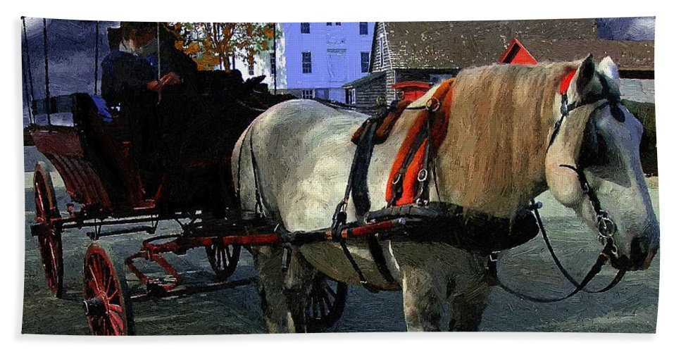 Horse Beach Towel featuring the painting Waiting For Madam by RC DeWinter