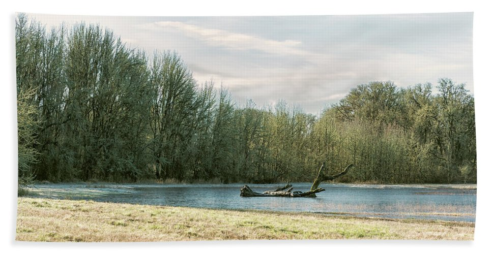 Pond Beach Towel featuring the photograph Waiting For The Birds by Belinda Greb