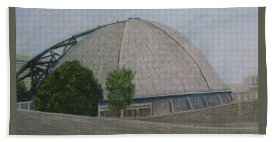 Pittsburgh Beach Towel featuring the pastel Waiting For The Next Event Mellon Arena Pittsburgh by Joann Renner