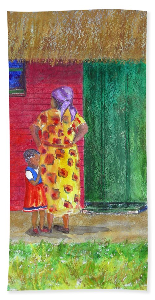 Zimbabwe Beach Towel featuring the painting Waiting In Zimbabwe by Patricia Beebe