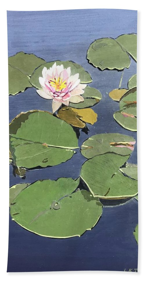Recycled Beach Towel featuring the painting Waiting Lotus by Leah Tomaino