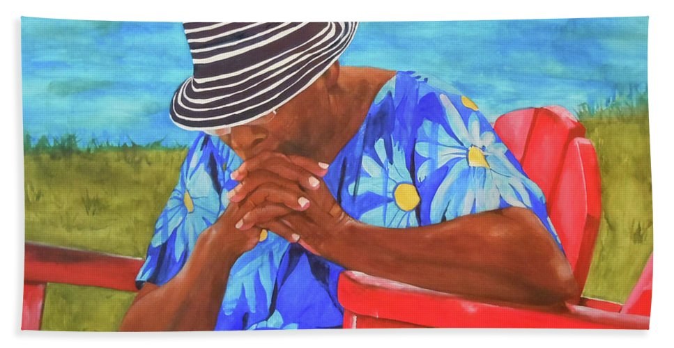 Caribbean Beach Towel featuring the painting Waiting Patiently by Jean Blackmer