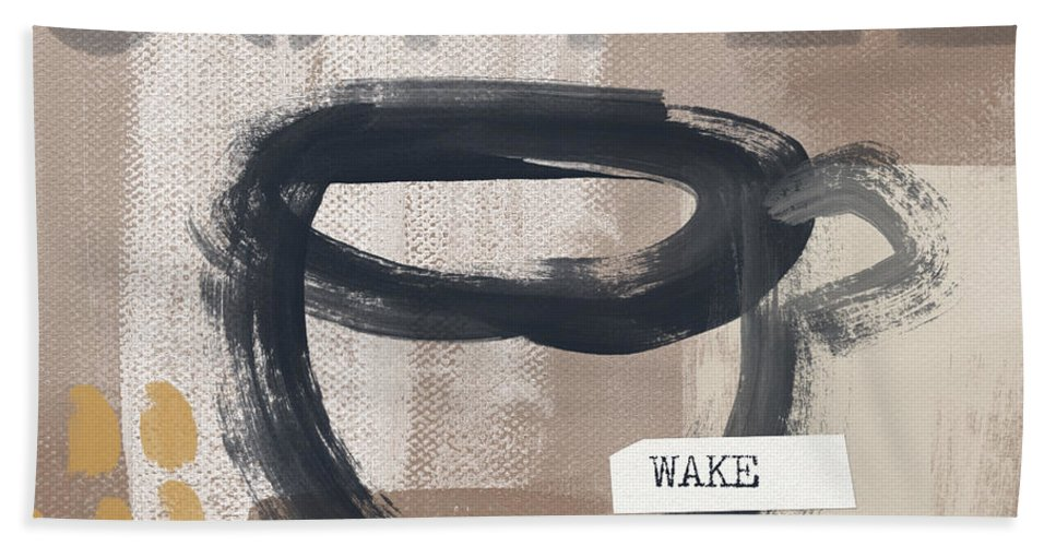 Coffee Beach Towel featuring the painting Wake My Soul- Art By Linda Woods by Linda Woods